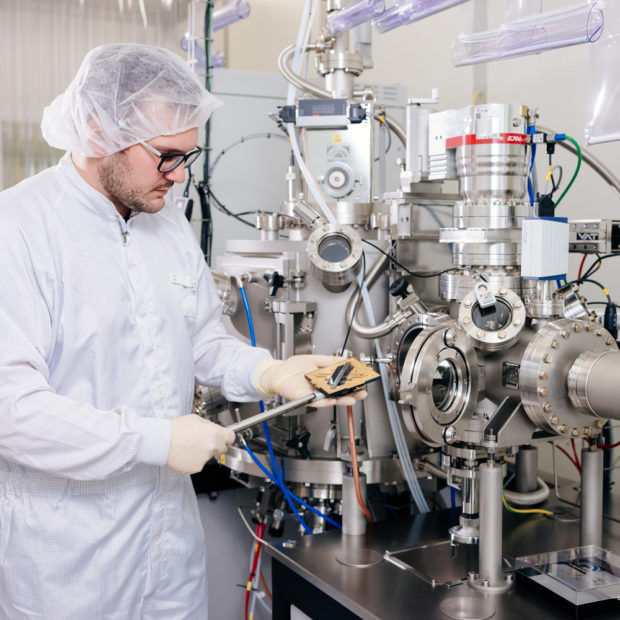 A man in the laboratory working on his doctorate